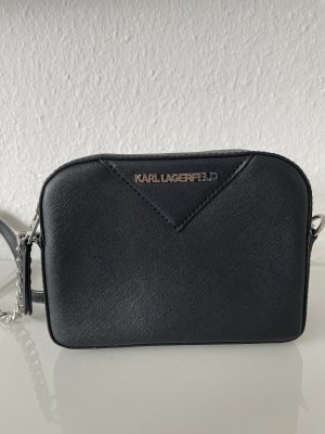 Karl Lagerfeld Umhängetasche schwarz Silber Leder