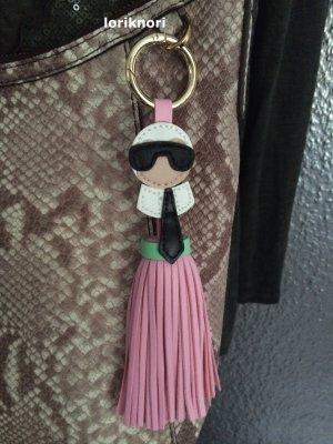 Key Chain pink-white imitation leather