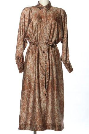 KARMAMIA Copenhagen Robe chemise brun-crème imprimé allover