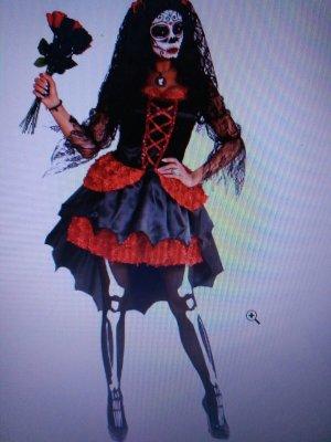 Flounce Dress black-dark red