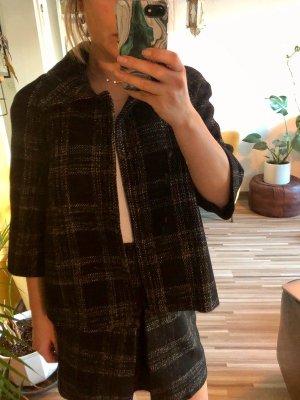Mango Blazer en tweed noir-beige laine