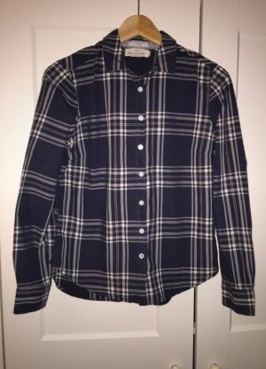H&M Checked Blouse white-dark blue