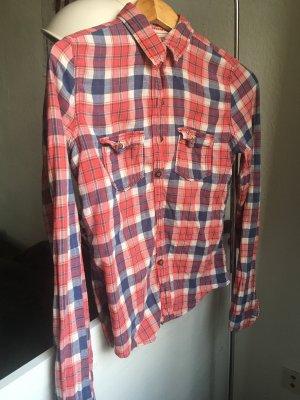 Hollister Flannel Shirt bright red-cornflower blue
