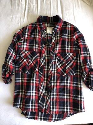 Zara Camisa de leñador carmín-azul oscuro