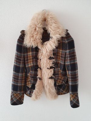 karo kariert Lammfellkragen Wolle Jacke Dufflecoat Herbst Winter Mantel Blazer drykorn Marke Designer