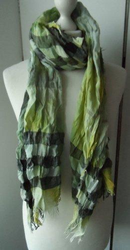 Einhorn Pashmina verde hierba-negro tejido mezclado