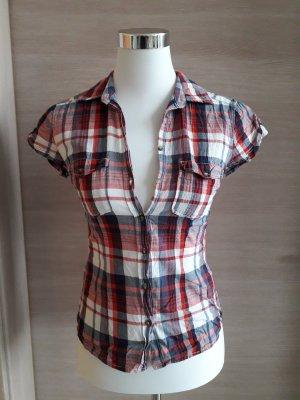 H&M Geruite blouse baksteenrood-leigrijs