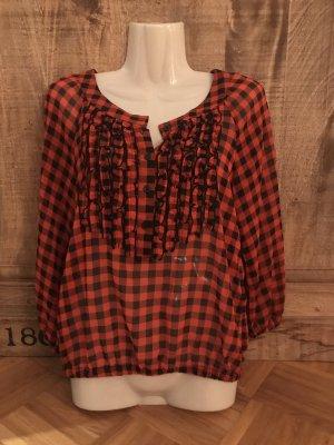H&M Geruite blouse zwart-roodbruin
