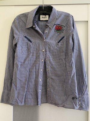 Pepe Jeans Geruite blouse wit-blauw