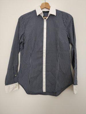 Zara Basic Blusa a cuadros blanco-azul oscuro Algodón
