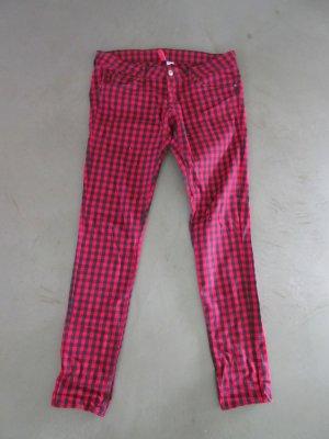 H&M Pantalone a sigaretta rosso-nero Cotone