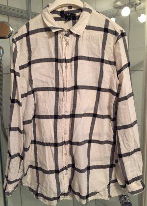 H&M Camisa de leñador blanco puro-negro