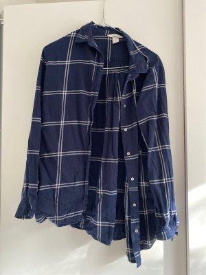 H&M Camicia da boscaiolo blu scuro-bianco