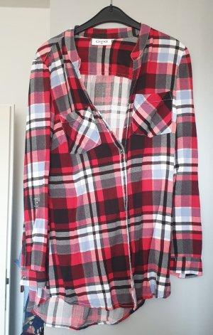 Gina Camisa de franela negro-rojo oscuro