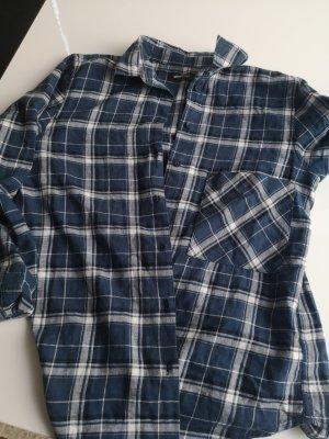 Gina Tricot Lumberjack Shirt white-dark blue