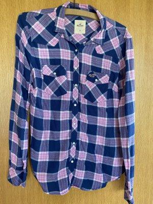 Hollister Lumberjack Shirt pink-steel blue cotton