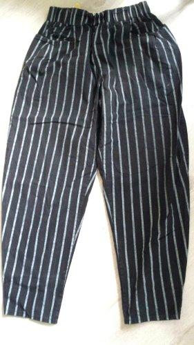 / Pantalon fuselé noir-blanc coton