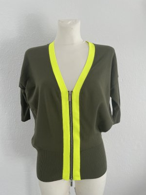 Karren Millen Long Knitted Vest khaki-neon yellow