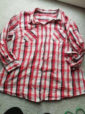 Ulla Popken Geruite blouse wit-rood