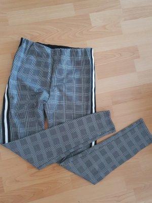 karrierte jeggings Leggings grau weiß schwarz trek pants skinny high waist