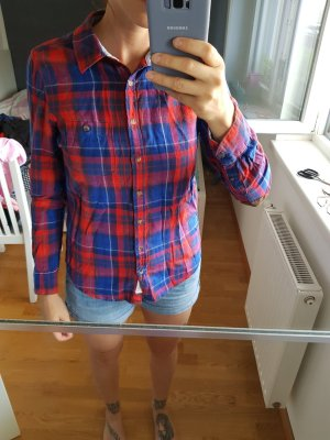 H&M Checked Blouse dark red-blue