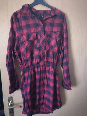 Mango Abito blusa camicia nero-carminio