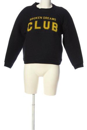 Zoe Karssen Sweatshirt schwarz-blassgelb Motivdruck Casual-Look