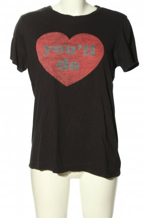 KARSSEN T-Shirt schwarz-rot Motivdruck Casual-Look