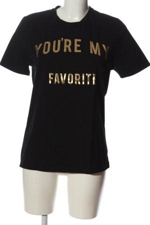 Zoe Karssen T-Shirt schwarz-goldfarben Schriftzug gedruckt Casual-Look