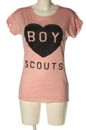 KARSSEN T-shirt rosa-nero Stampa a tema stile casual
