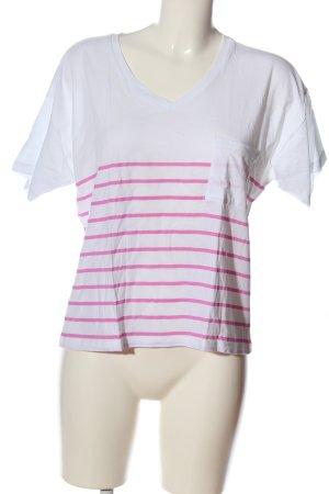 Zoe Karssen T-Shirt weiß-pink Streifenmuster Casual-Look
