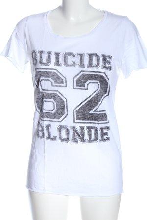 Zoe Karssen T-Shirt weiß-schwarz Schriftzug gedruckt Casual-Look