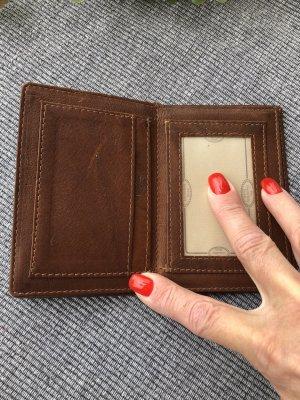 Karten Etui Ausweis Etui echt Leder cognac 12x8cm aufklappbar 3fach 7 Fächer