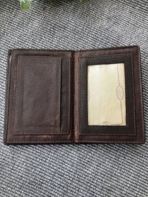 Karten Etui Ausweis Etui echt Leder dunkelbraun 12x8cm aufklappbar 3fach 7 Fächer