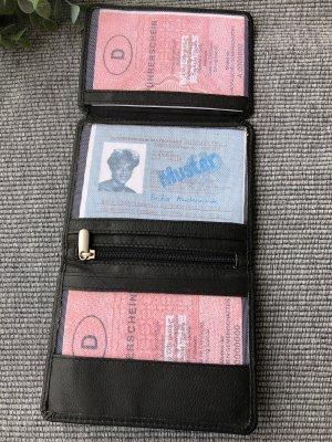 Ohne Porte-cartes noir-argenté cuir