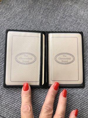 Karten Etui Ausweis Etui schwarz echt Leder 12x8cm aufklappbar 3fach 7 Fächer
