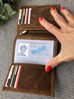 Kartenetui Ausweis Etui Leder cognacfarben Vintage Look 12,5x9,5cm aufklappbar 12 Fächer
