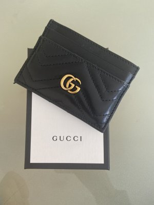 Gucci Etui na karty czarny-złoto Skóra