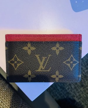 Louis Vuitton Porte-cartes brun-rouge fluo cuir