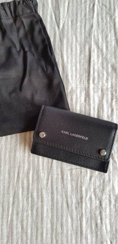 Karl Lagerfeld Kaartetui zwart-zilver Leer