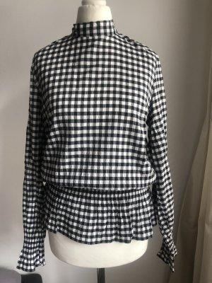 Kartierte Schösschen Bluse | Schwarz Weiß