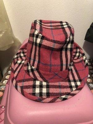 Sombrero de ala ancha blanco-rosa