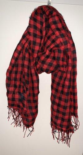 Woolrich Bufanda de lana negro-rojo ladrillo lana de esquila