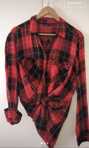 Koszula z długim rękawem czarny-czerwony