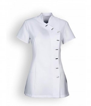 clinic+job dress Stand-Up Collar Blouse white