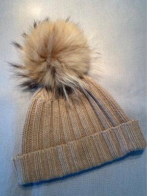 Fur Hat beige-white