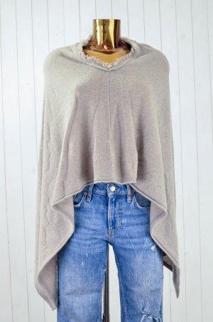 Poncho en tricot gris brun-beige cachemire
