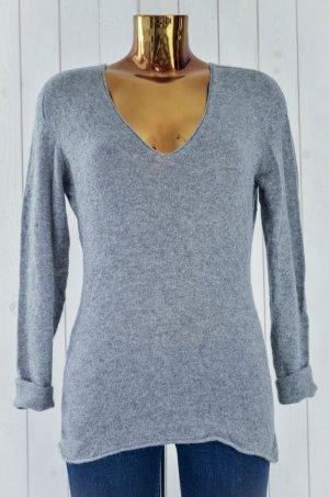 Kaschmir-Pullover Damen Kaschmir Strick Grau V-Ausschnitt Gr.38