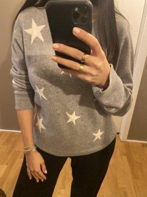 Kaschmir Pullover XL grau Sterne Caschmir