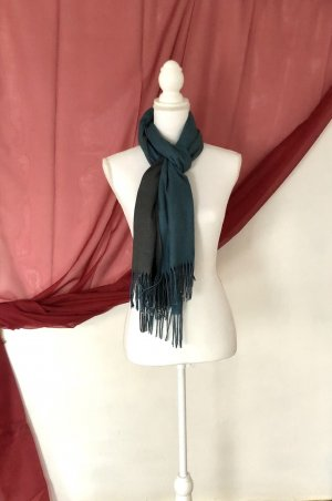Kaschmir Schal / Cashmere Scarf 50% blau grau groß Winter